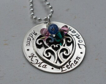 Custom Hand Stamped Personalized Mother's Necklace