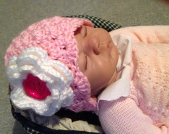 Pink and Flowered Baby Beanie