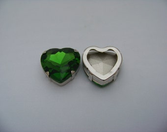 Leaf Green 27mm Sew on Cab with silver metal bezel   Cabs2/3045