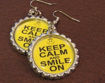 Keep Calm and Smile Bottle Cap Earrings