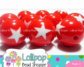 RED and White STAR Beads 20mm Chunky Beads Patriotic Beads Round Gumball Beads 10ct Plastic Gum Ball Beads Resin Bubble Gum Chunky Necklace
