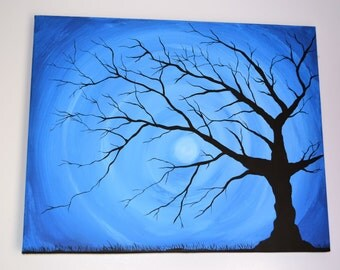 Whimsical black tree silhouette