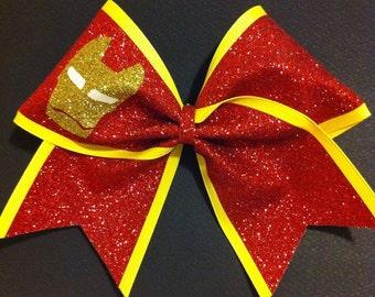 3in. Glitter Iron Man Superhero Cheer Bow