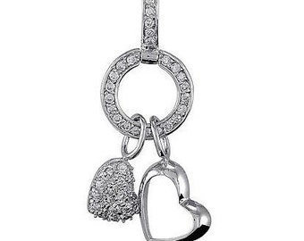 925  sterling silver and cz heart necklace.sterling silver and cz pendant, cubic zarconia heart necklace