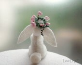 Flower fairy bunny, hand stitched white felt miniature pose-able plushie