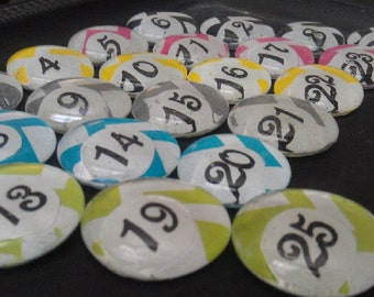 Custom Sets of number/letter Glass Magnets, Made to Order with high quality neodymium magnets and lots of love!