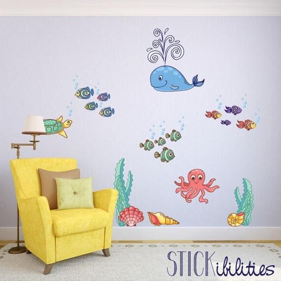 Ocean Wall Decor For Nursery : Items similar to ocean stickers nursery wall decals