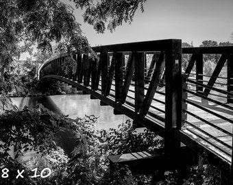 Black & White Photography - Bridge - fine art print, wall photo, home decor, river, outdoors, nature, monochrome, shadows, contrast