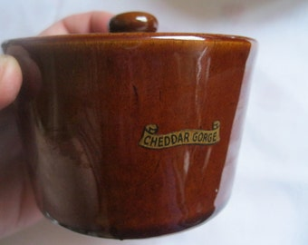 vintage lidded stoneware storage jar brown souvenir of Cheddar Gorge England