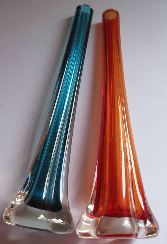 Pair Of Vintage Murano Glass Bud Vases
