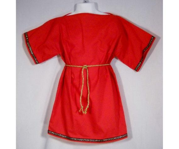 Roman SCA LARP Boy Red Cotton Tunic Shirt with Metallic Trim Size 5