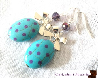 cute as a button  - earrings purple turquoise