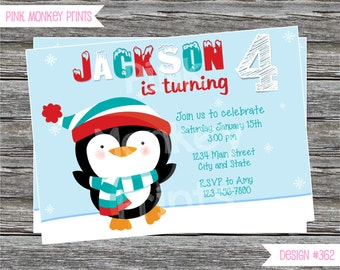 DIY - Boy Penguin Winter Wonderland Birthday Party Invitation - Coordinating Items Available