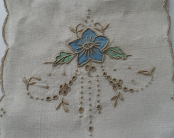 Vintage Embroidered and Painted Linen Jewelry Keep Bag Pouch 1950's