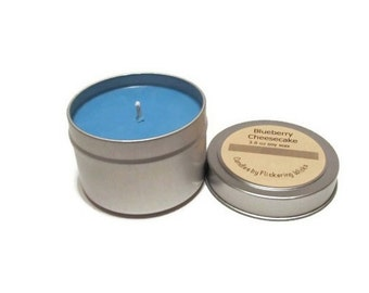 blueberry cheesecake soy candle tin, blueberry candle, blueberry cheesecake candle, soy candle, candle tin