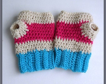 Crochet FIngerless Women's Gloves, Texting gloves, women's pink and blue gloves, Striped gloves, Fingerless Gloves, Custom Gloves