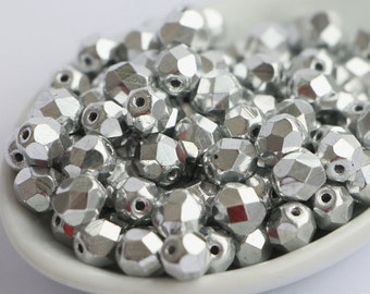 6mm Silver Coated (30 pcs) Fire Polished Czech Beads Round Faceted Polish