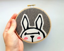 White Rabbit Art - 5 Inch Hoop - Embroidery Hoop Art - Kids - Wall Art - Hoop Art - Home Decor - Nursery Art