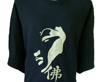 Cool Men's T-Shirt - Buddah Face 100% Australian Made Cotton Size PLUS SIZE 2XL Navy