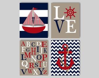 Baby Boy Nautical Nursery Decor Boys Room Nautical Decor Anchor Art Sailboat Print ABC Nursery Alphabet Nursery Print Choose Colors - NN1566