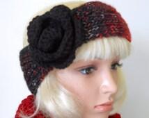 The Black Rose Headwrap in Black and Red, Handknit Earwarmer, Flowered Headband, Goth Style Headwrap, Twenties Style Fashion