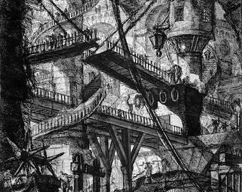 "Giovanni Battista Piranesi : ""Carceri VII - The Drawbridge"" (1745) - Giclee Fine Art Print"