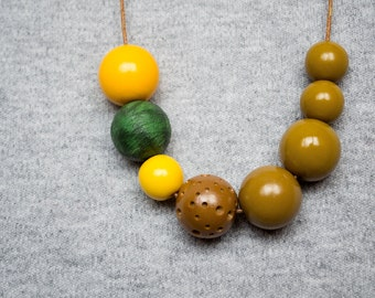 Polymer clay necklace Beadwork necklace Olive green necklace Geometric necklace Boho necklace Yellow Asymmetric Indie Green Metal free