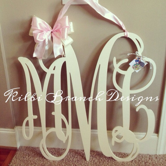36x36 3 letter wooden monogram door hanger with bow // LARGE wooden painted monogram