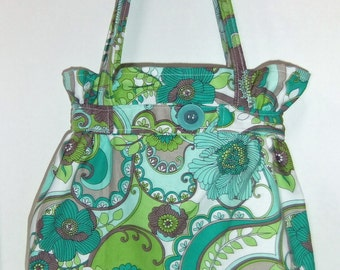 Belted Tote Bag - Purse -  Green and Gray Print
