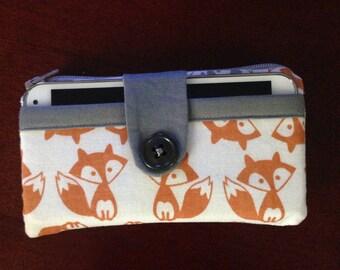 Handmade zippered clutch coin purse
