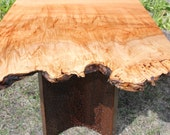 Contemporary Live Edge Coffee Table with Hand Carved Coopered Walnut Legs.