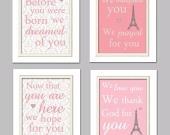 Nursery Quad, Pink and Grey Nursery, Eiffel tower nursery, Set of 4 8X10, Pink, Grey, Nursery Poem