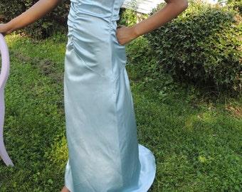 Sky blue spaghetti strap criss cross back with Rhine stones floor length Size small dress