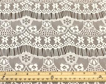 Tan Eyelash Floral Lace Fabric - Vivian Pattern - 1 Yard Style 330