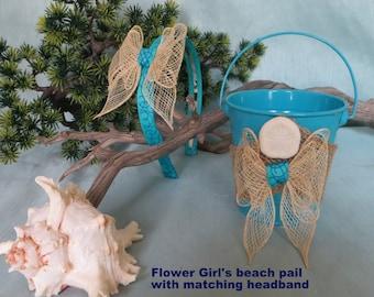 Beach flower girl pail and matching head band_beach wedding_beach wedding accessories