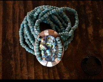 Blue Abalone Shell and Mother of Pearl Bracelet