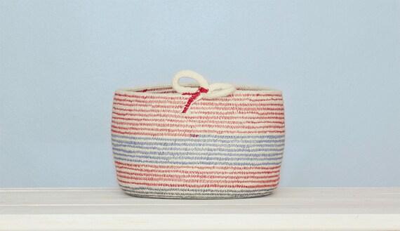 Red & Blue Cotton Sash Cord Basket