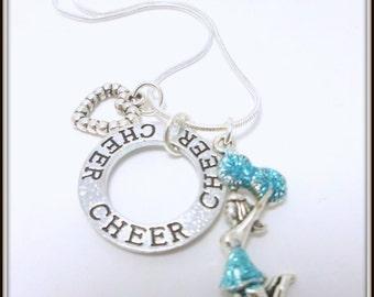 Cheerleading Necklace Cheerleader gifts Cheer Charms Charm Necklace Gift for cheerleader Cheer squad banquet gift idea Accessories