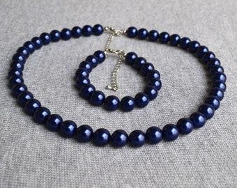 pearl set,navy pearl set,glass pearl ,pearl necklace,pearl bracelet,wedding,bridesmaid pearl,Beaded Jewelry,wedding necklace ,navy necklace