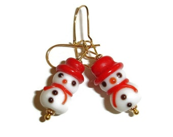 Snowman in Red Holiday Earrings