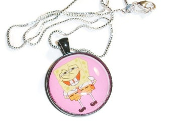 Sponge bob pink background necklace