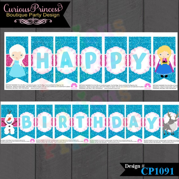 Frozen Birthday Banner Printable Frozen Banner Party By: Items Similar To Ice Blue Frozen Glitter Princess