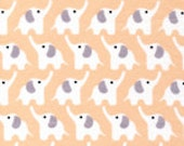 Organic Flannel Brushed Cotton -Baby Elephants Light Peach -Fanfare - 1/2 yd