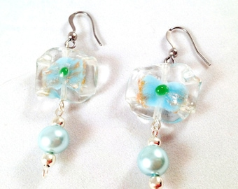Translucent, sky blue, and green glass earrings with sky blue faux pearl dangles