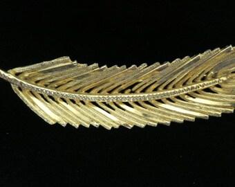 Vintage Large Goldtone Signed BSK Leaf Brooch