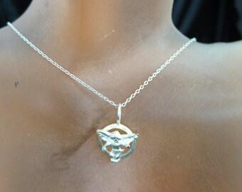 Vintage Sterling Silver Angel Pendant Necklace