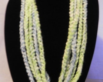 Green and Blue Crochet Chain Scarf Necklace