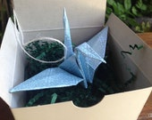 Small gift - origami crane ornament in gift box - blue shine paper crane ornament - origami paper ornament - baby boy present - baptism