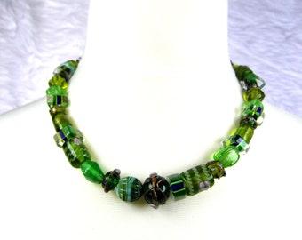 "17"" Green Lampwork Necklace"