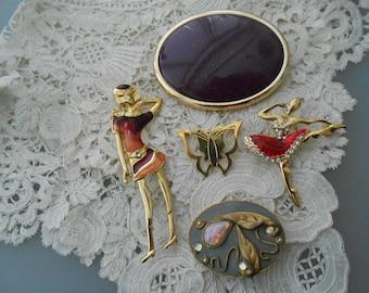 Vintage brooch x 5